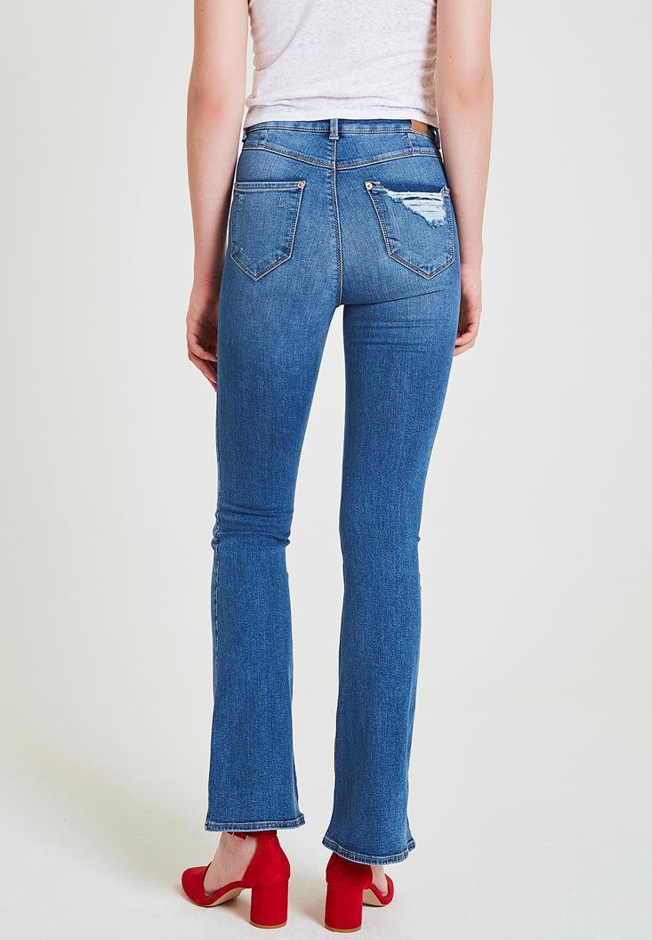 Bayan Mavi Cep Detaylı Flare Pantolon