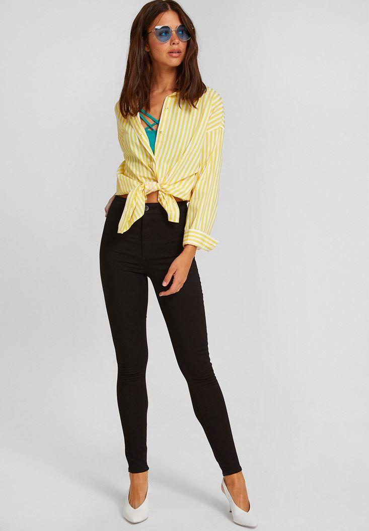 Bayan Siyah Yüksek Bel Dar Paça Pamuk Pantolon