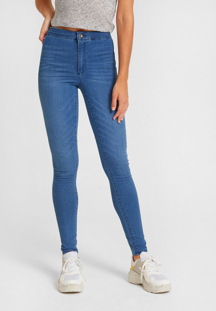Blue High Rise Skinny Denim Pants