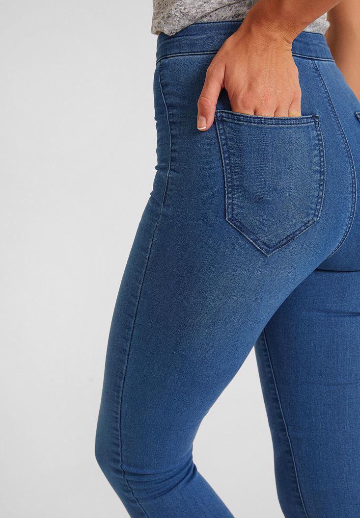 Bayan Mavi Yüksek Bel Dar Paça Pamuk Pantolon