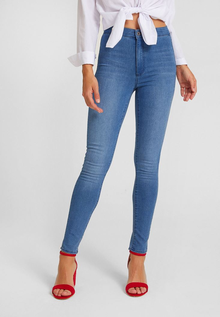 Mavi Yüksek Bel Dar Paça Pamuk Pantolon