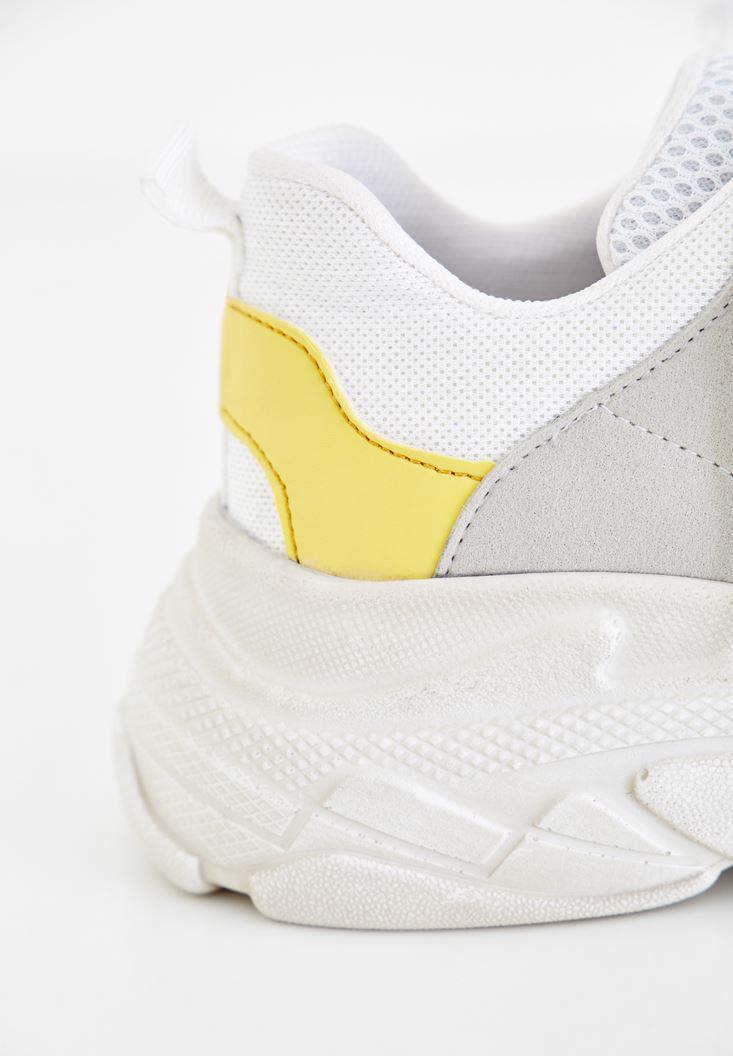 Bayan Beyaz Kalın Tabanlı Bağcıklı Sneaker