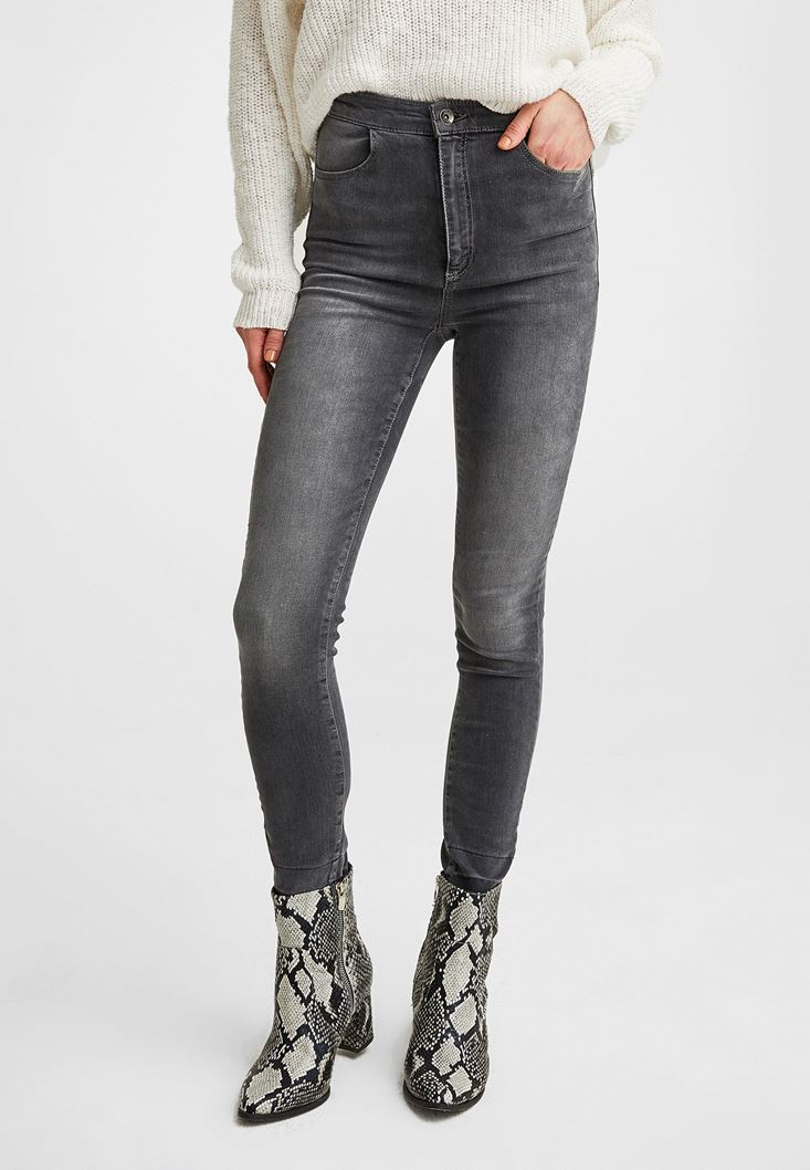 Grey High Rise Skinny Denim Jeans