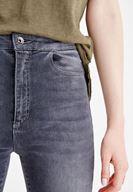 Bayan Gri Yüksek Bel Dar Bilek Paça Pantolon
