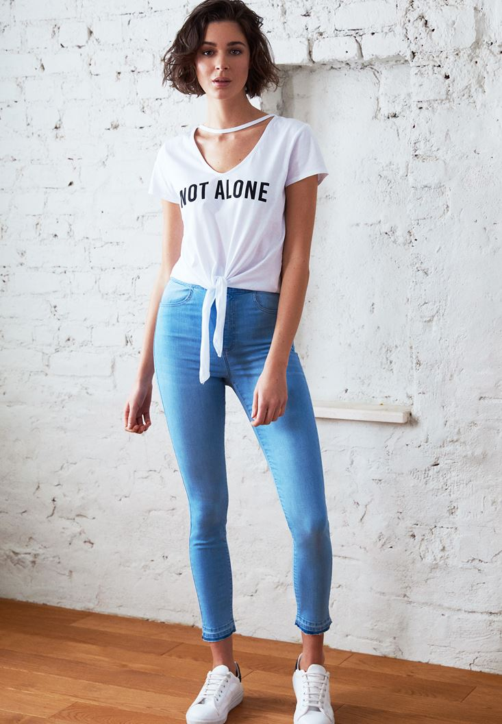 Blue High Rise Skinny Denim Jeans