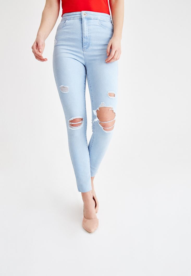 Blue High Rise Skinny Denim Jeans