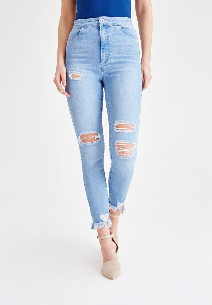 Mavi Yüksek Bel Dar Bilek Paça Pantolon