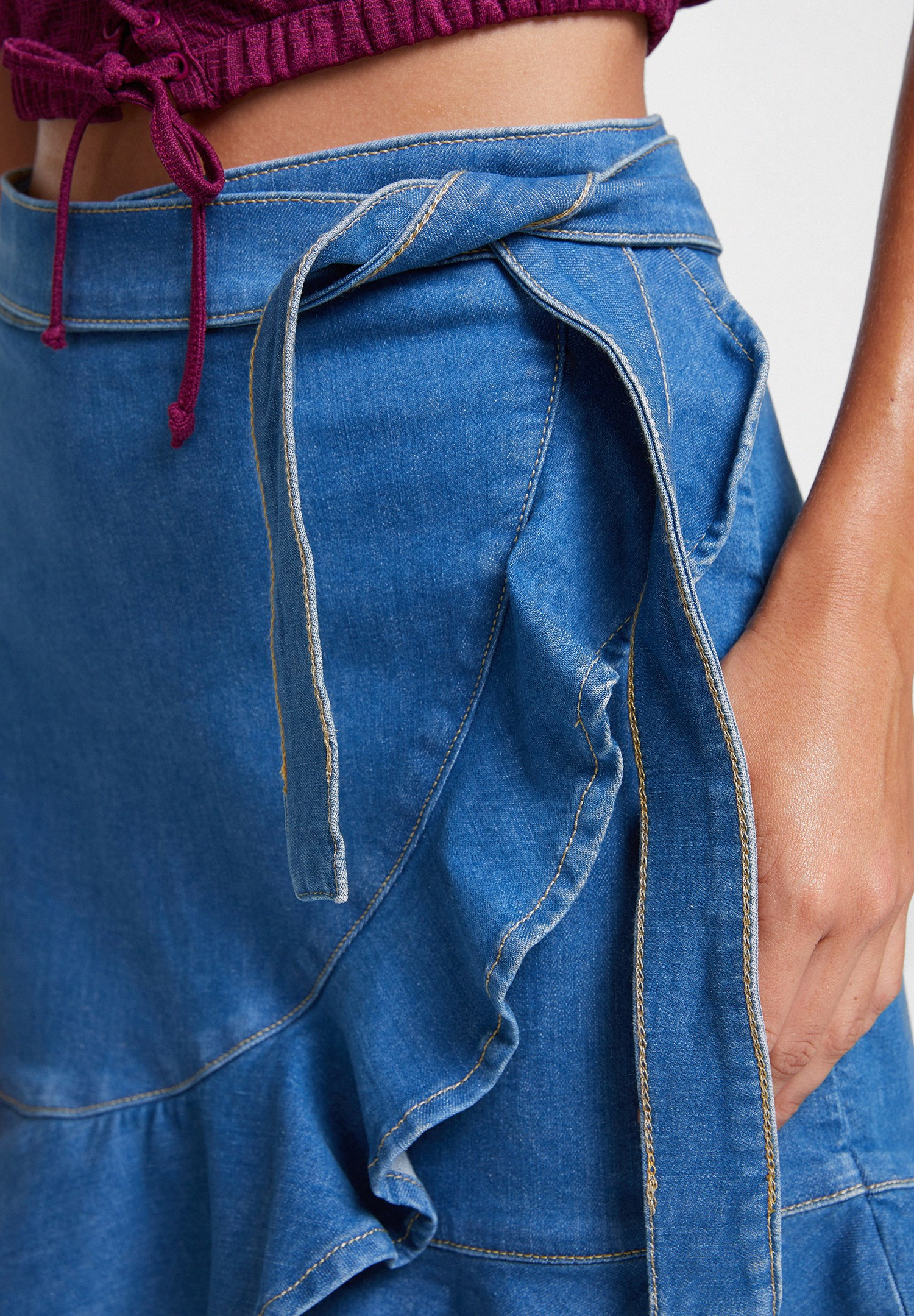 Women Blue Denim Skirt with Ruffle Details