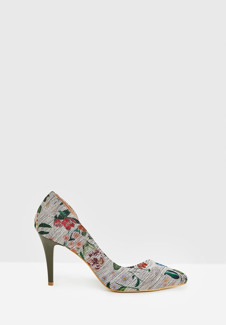 White High Heel Shoes with Flower Pattern