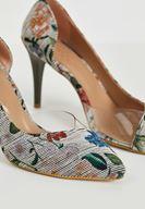 Bayan Beyaz Çiçek Desenli Topuklu Ayakkabı