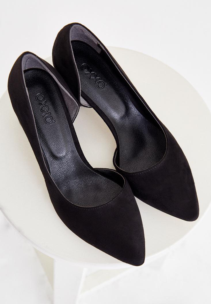 Bayan Siyah Topuk Detaylı Süet Ayakkabı