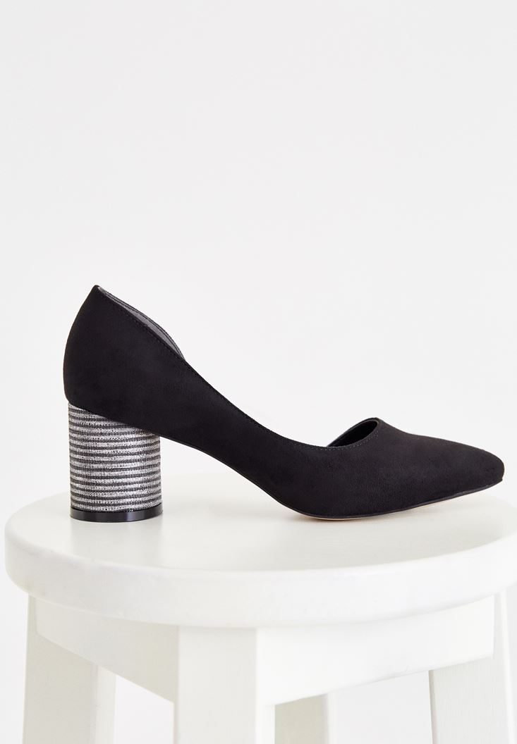 Black High Heel Shoes with Details