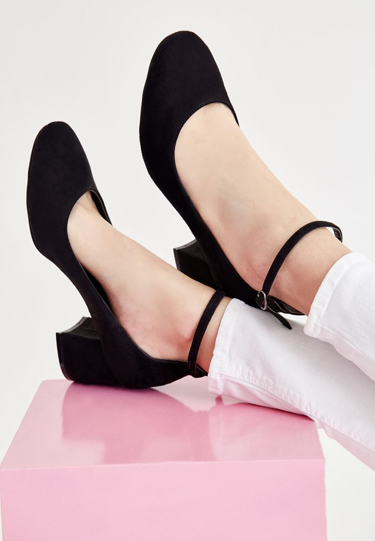 Black High Heel Shoes with Buckle Detail