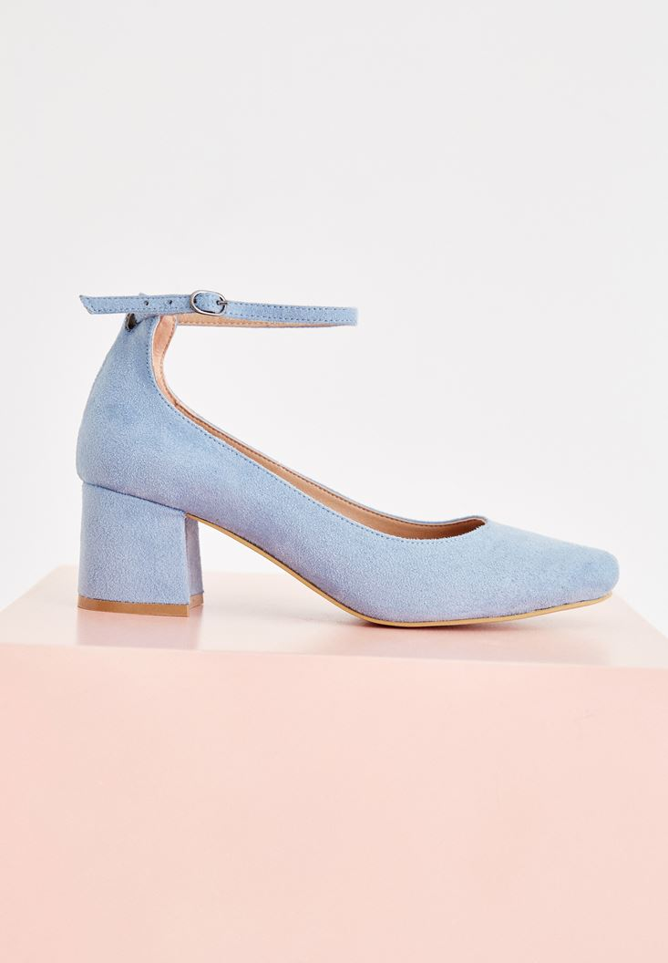 Blue High Heel Shoes with Buckle Detail