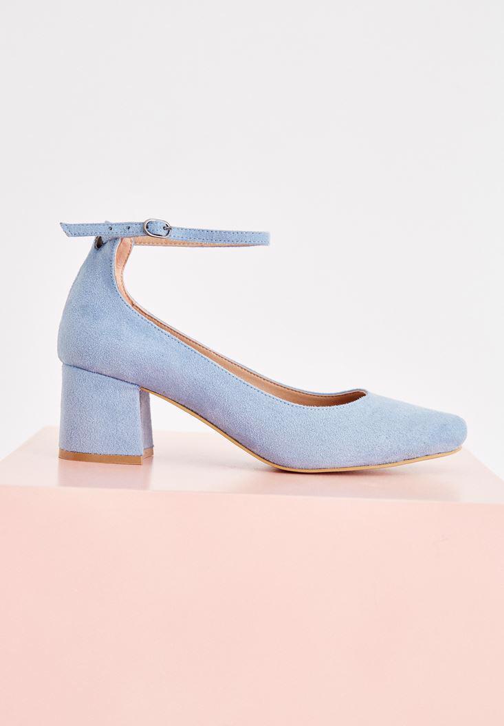 Bayan Mavi Topuklu Toka Detaylı Ayakkabı