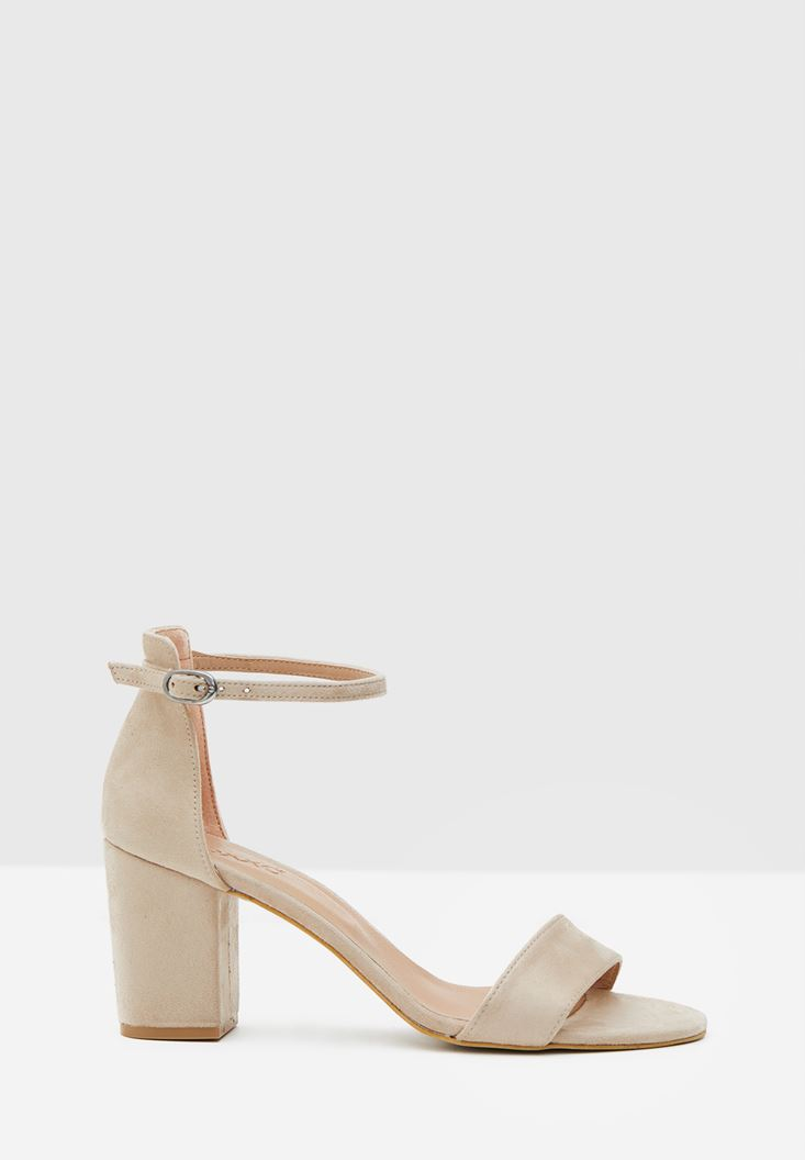 Grey High Heel Shoes with Cord Details