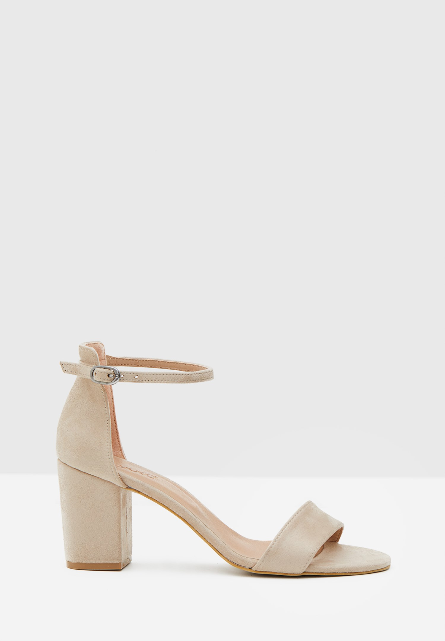 Bayan Gri Şeritli Topuklu Ayakkabı