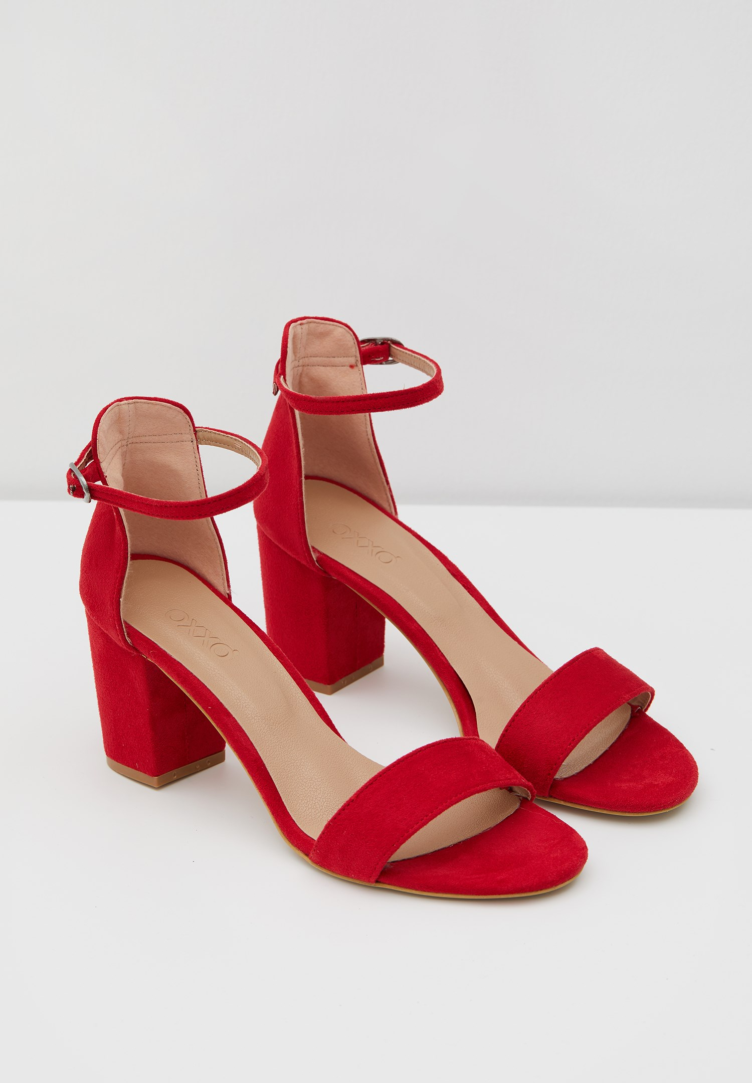 Bayan Kırmızı Şeritli Topuklu Ayakkabı