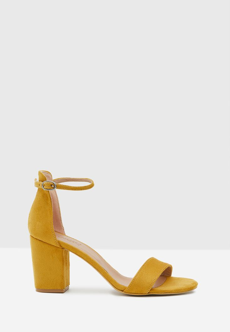 Yellow High Heel Shoes with Cord Details