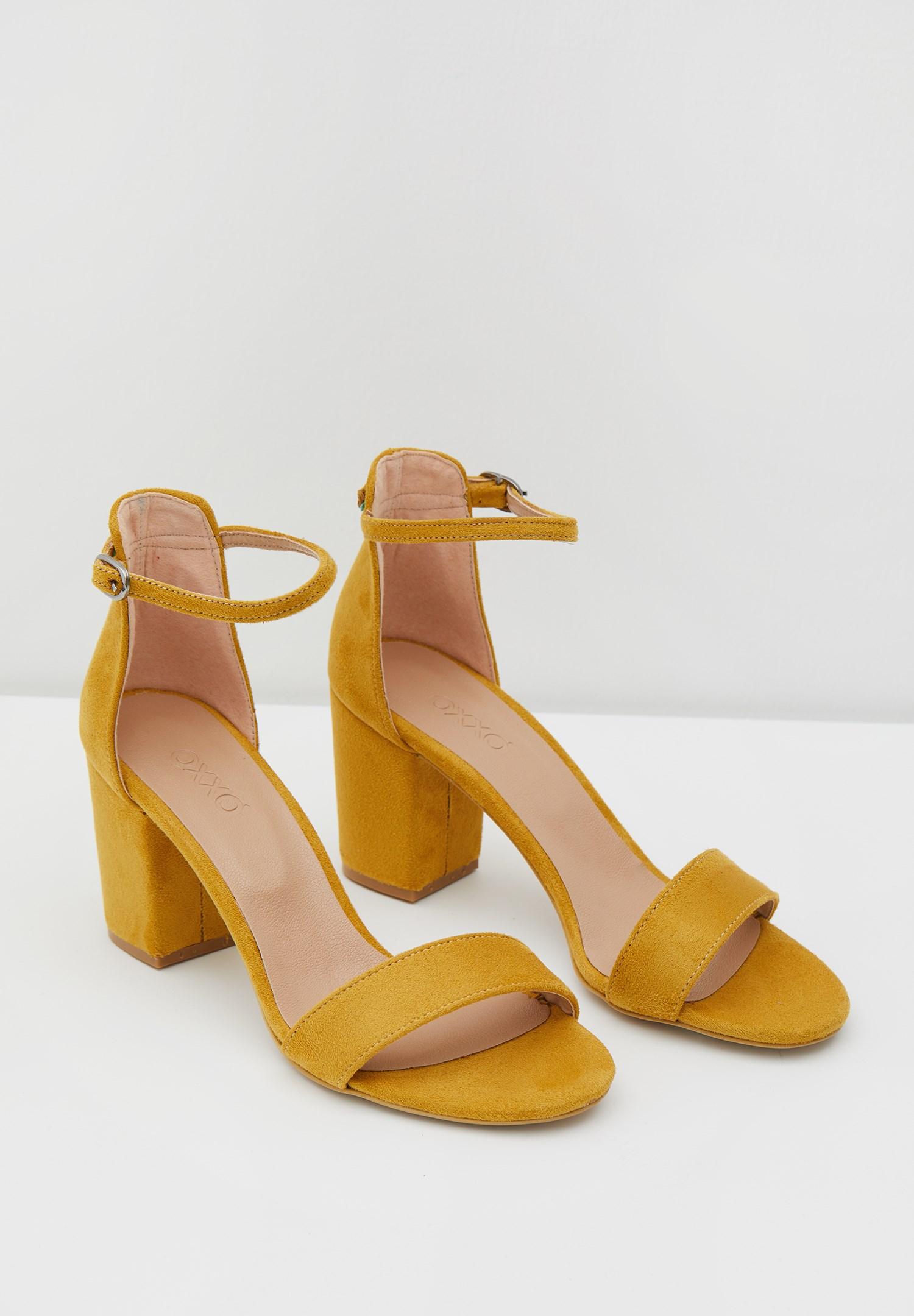 Bayan Sarı Şeritli Topuklu Ayakkabı
