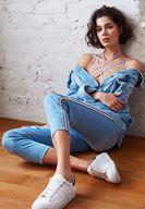 Women Blue Mom Jean with Stripe Details