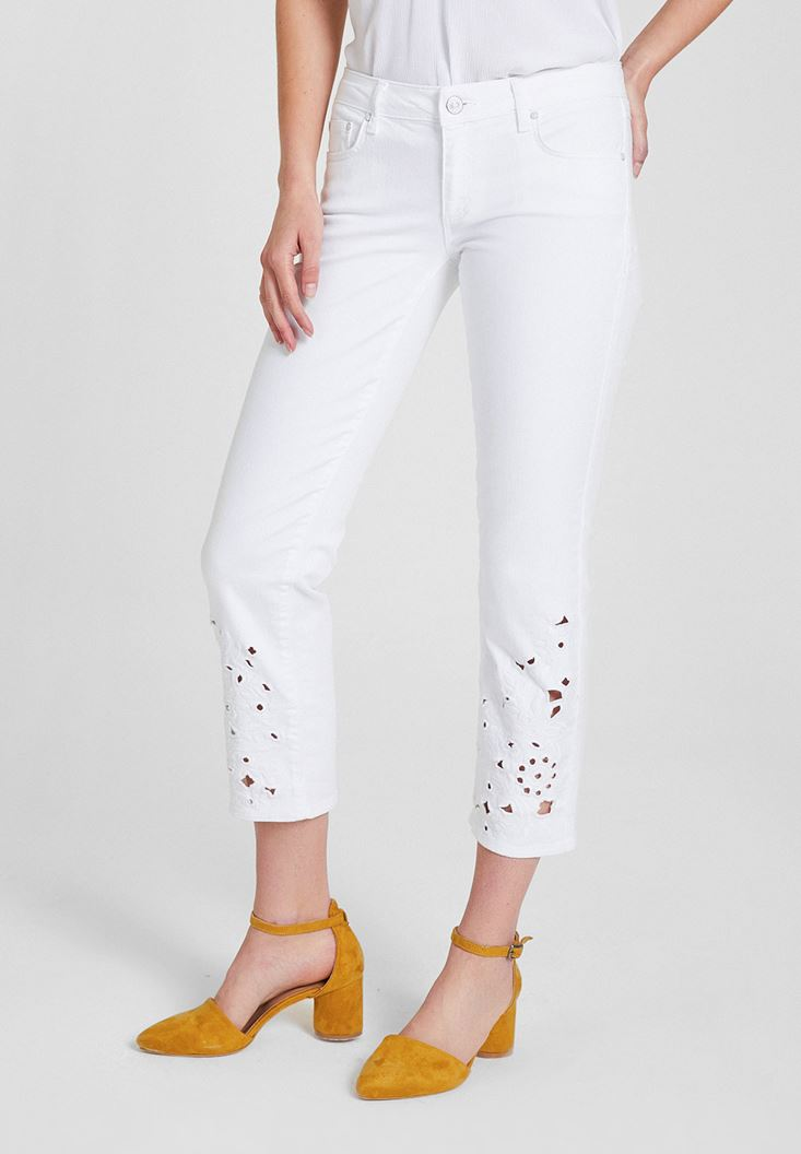 White Low Rise Pants with Ankle Details