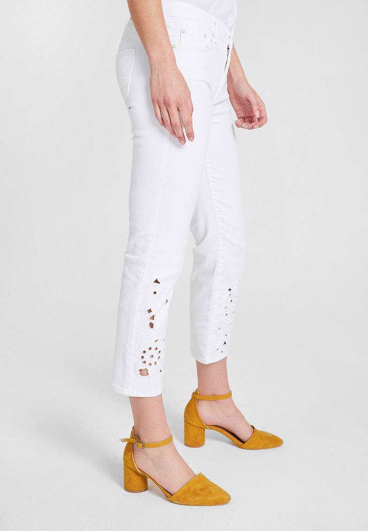 Women White Low Rise Pants with Ankle Details