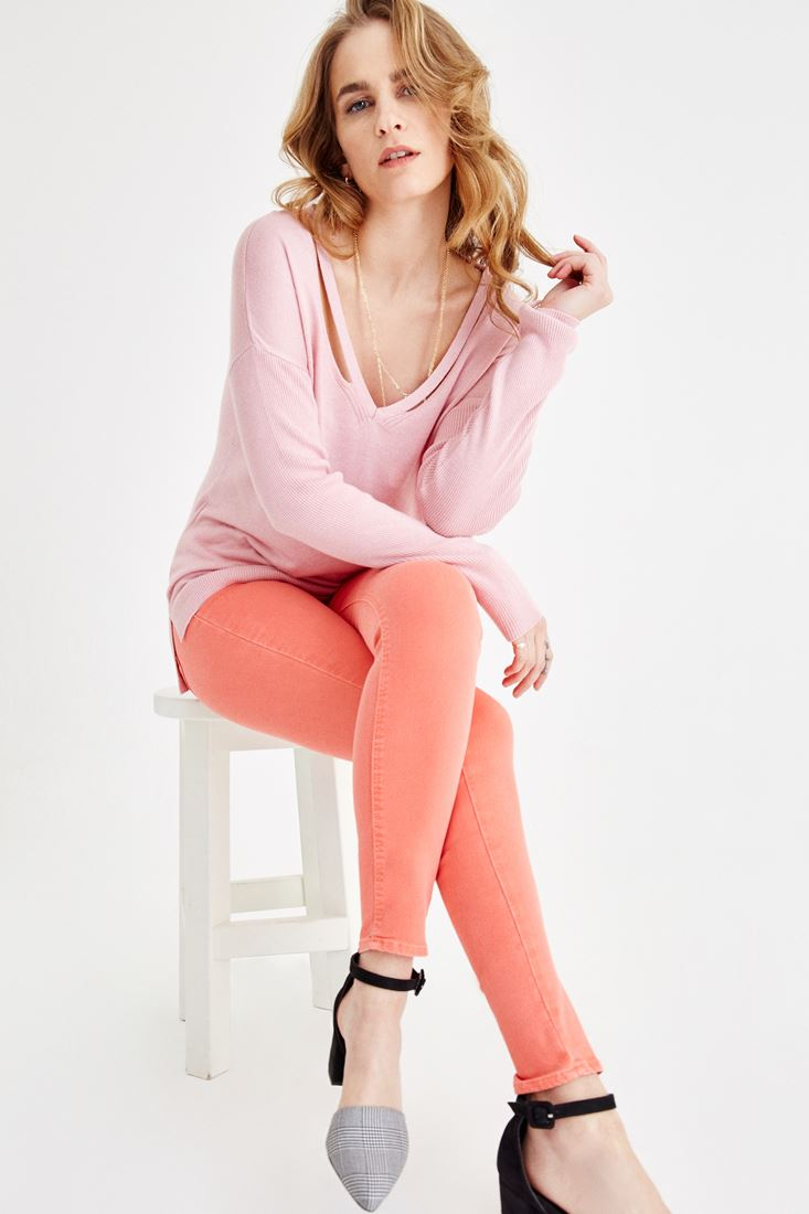 Pink V Neck Knitwear with Back Detailed
