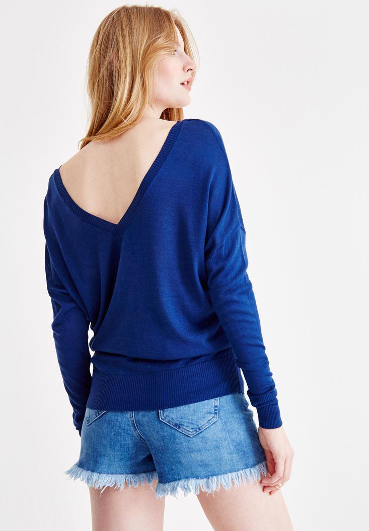 Women Navy Long Sleeve Knitwear with Neck Details