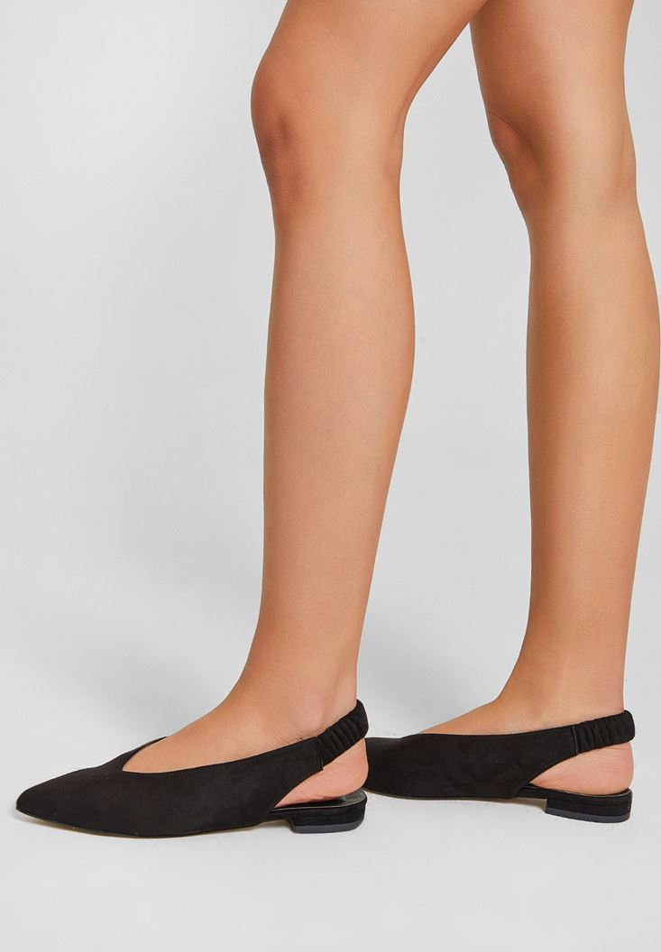 Siyah Topuğu Açık Düz Ayakkabı