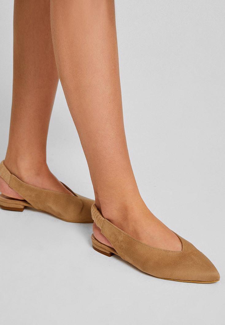 Bayan Gri Topuğu Açık Düz Ayakkabı