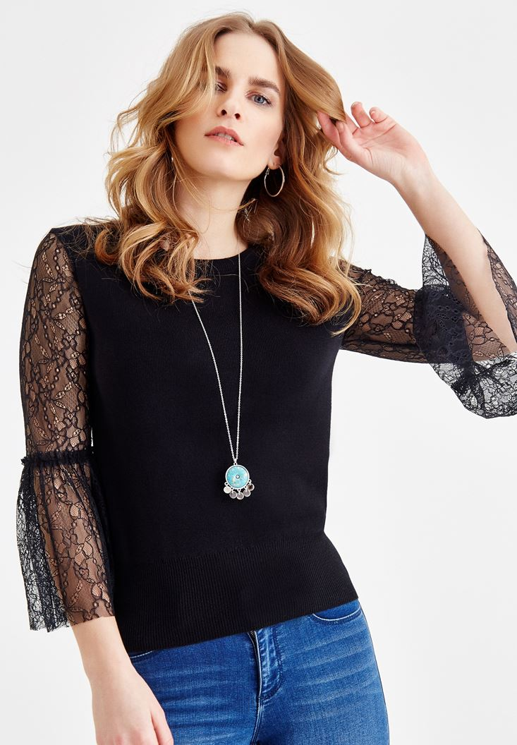 Black Pullover with Lace Details