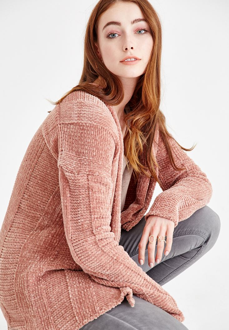 Pink Chenille Cardigan