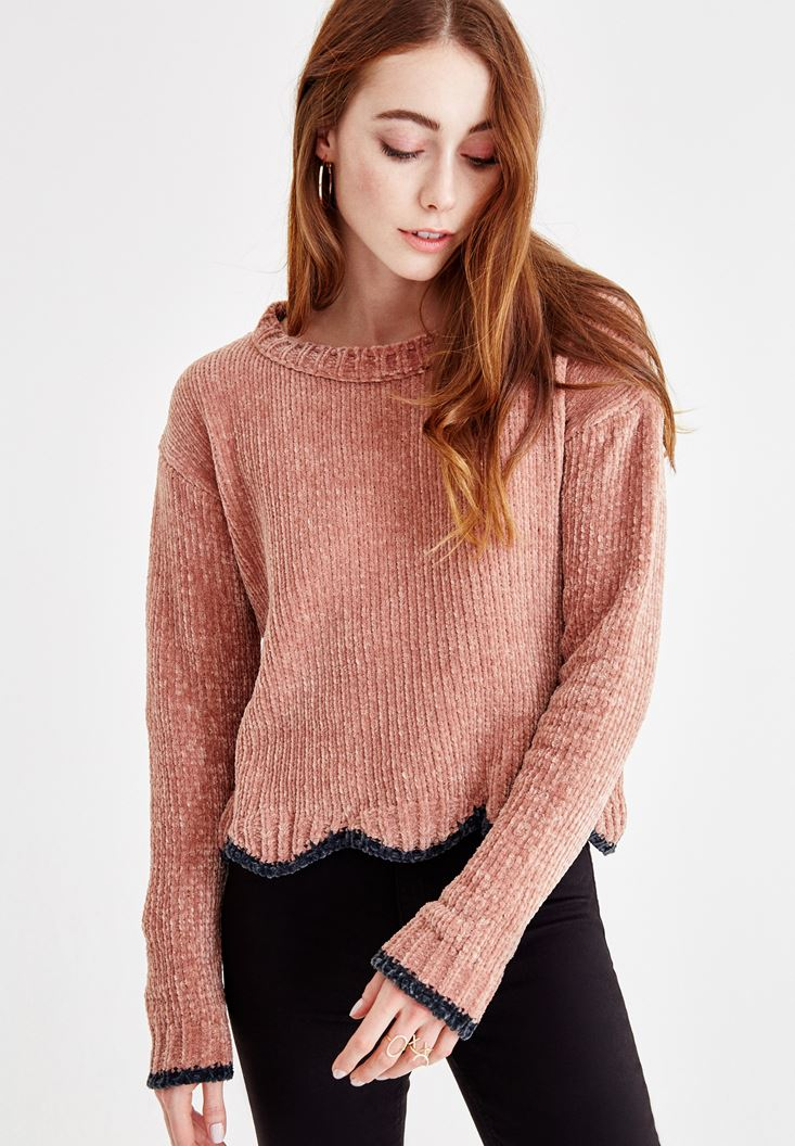 Pink U Neck Chenille Knitwear
