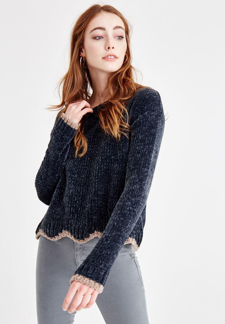 Grey U Neck Chenille Knitwear
