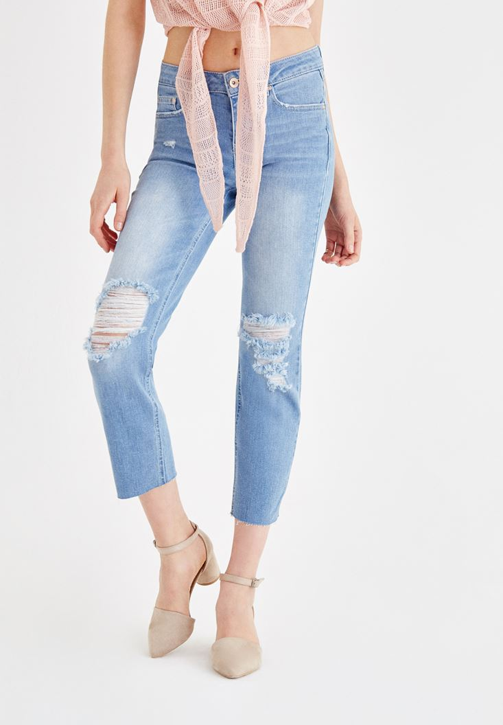 Blue Mid Rise Jean with Ankle Details