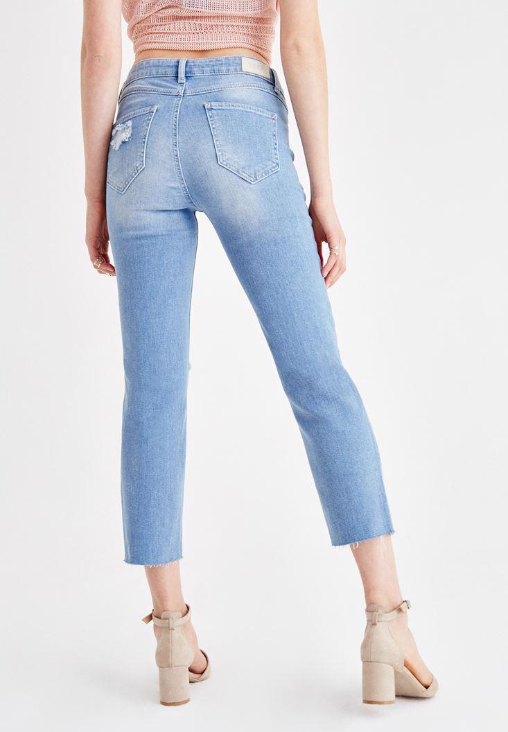 Women Blue Mid Rise Jean with Ankle Details
