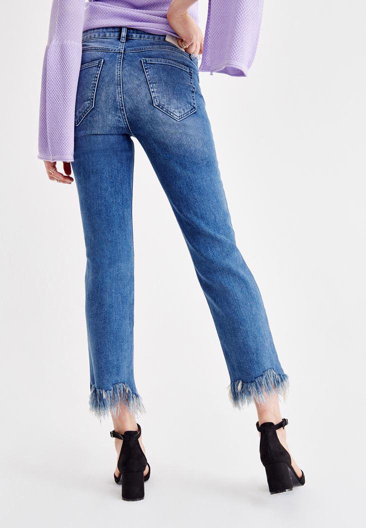 Bayan Mavi Orta Bel Paça Detaylı Jean