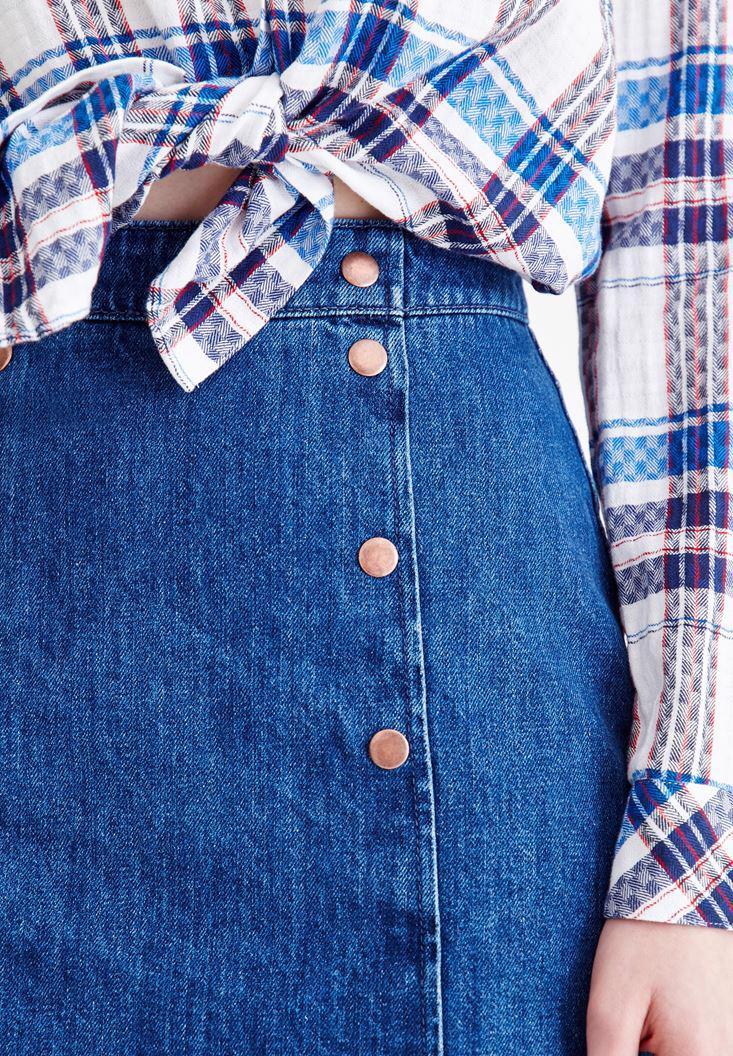 Women Blue High Rise Denim Skirt