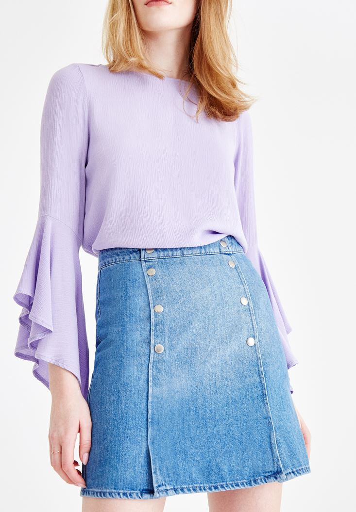 Blue High Rise Denim Skirt