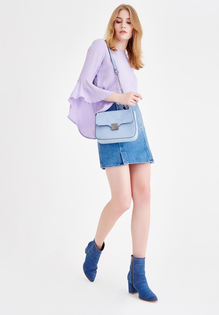 Women Blue High Rise Denim Skirt