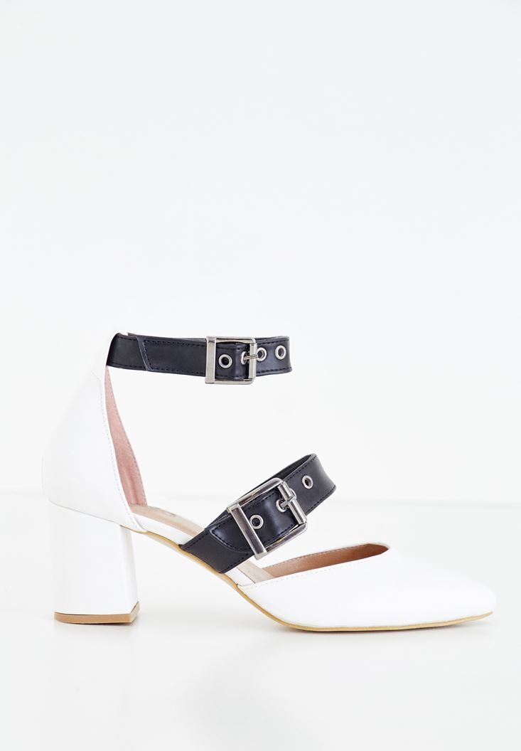 White High Heel Shoes with Band Details