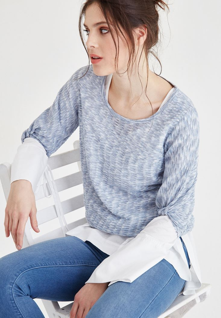 Blue U Neck Knitwear with Ruched Details