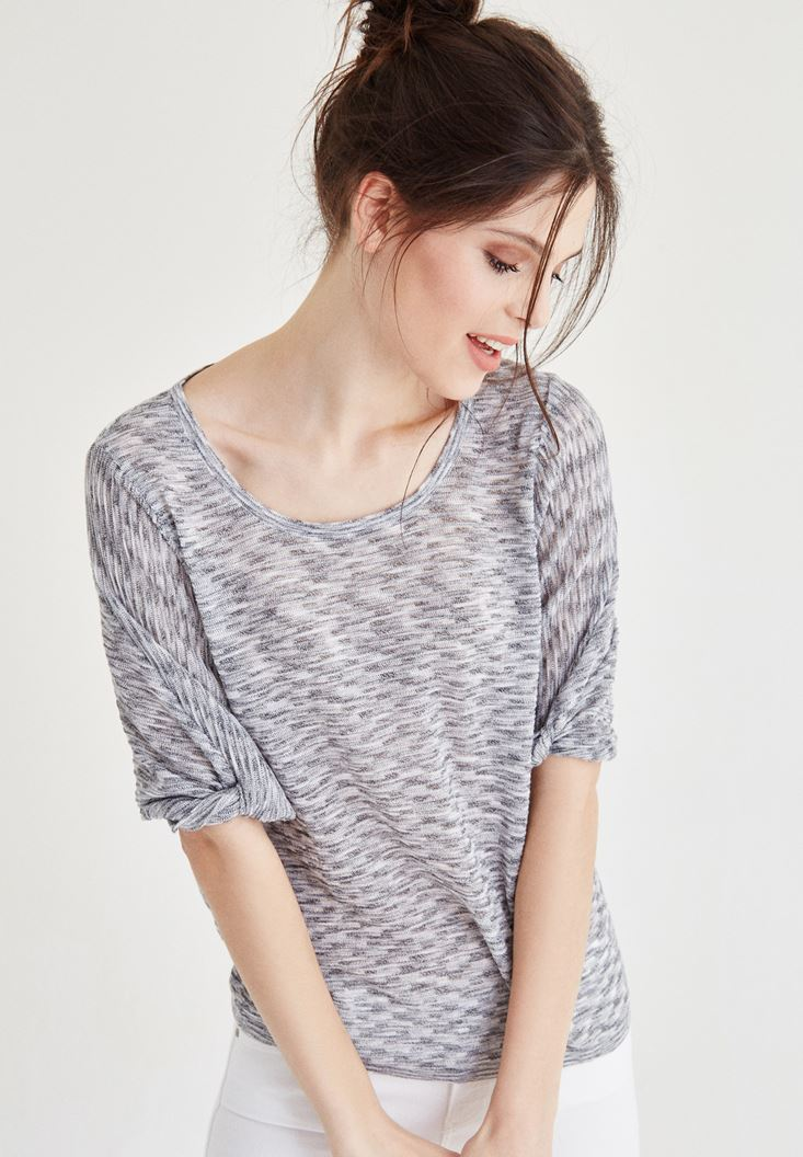 Grey U Neck Knitwear with Ruched Details