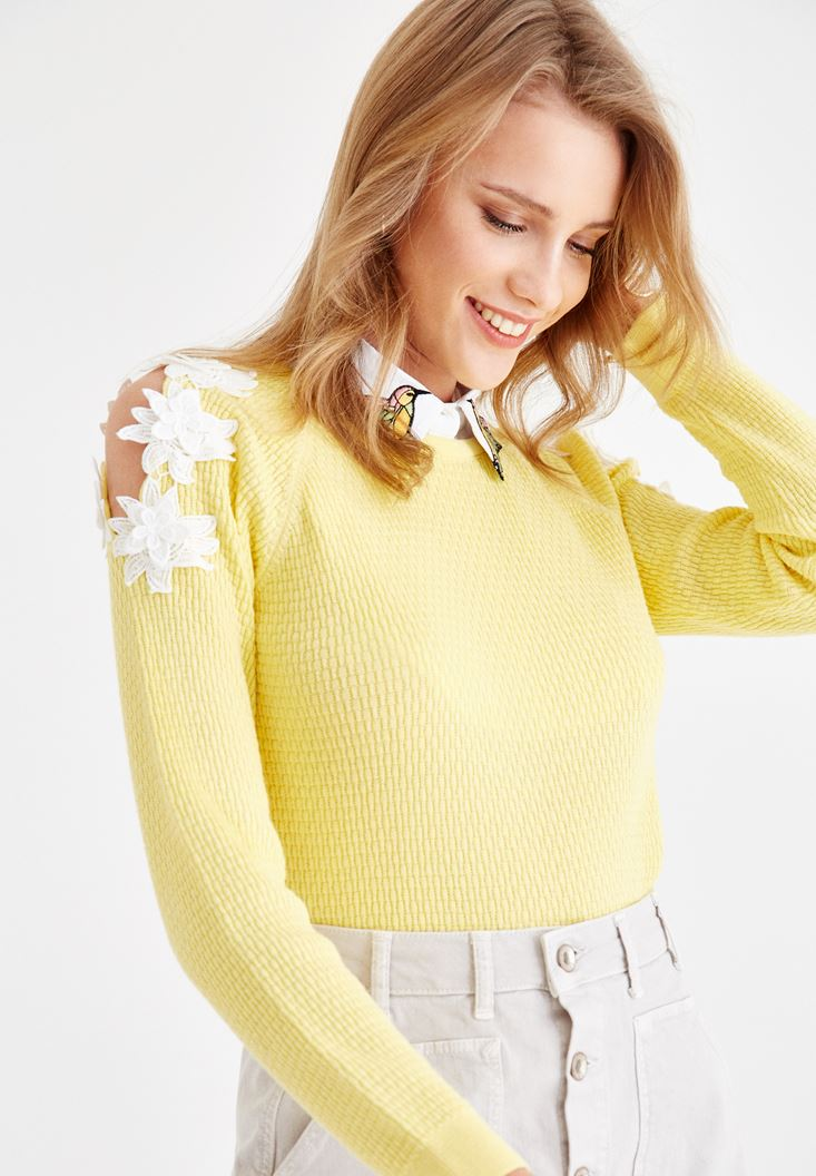 Yellow Knitwear with Embroidery and Shoulder Details
