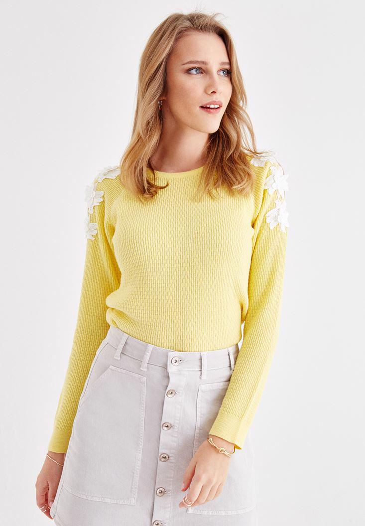 Bayan Sarı Omuzları Nakışlı Triko