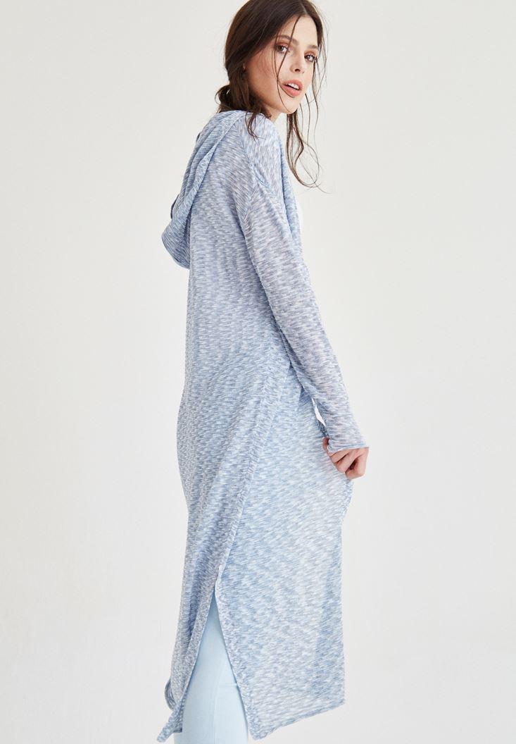 Mavi Kapüşon Detaylı Uzun Triko Hırka