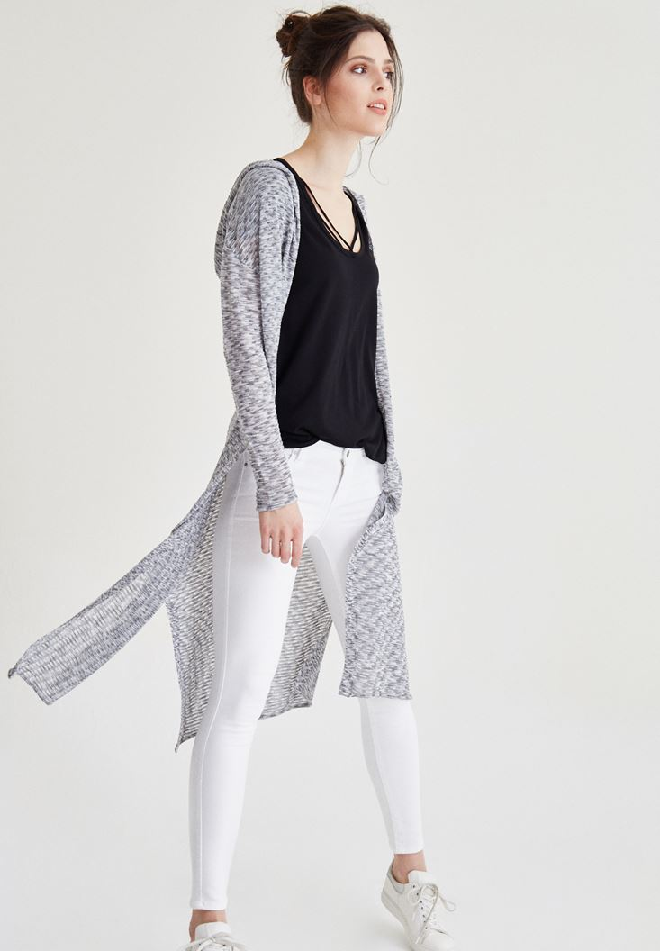Grey  Long Cardigan with Hoodie Details