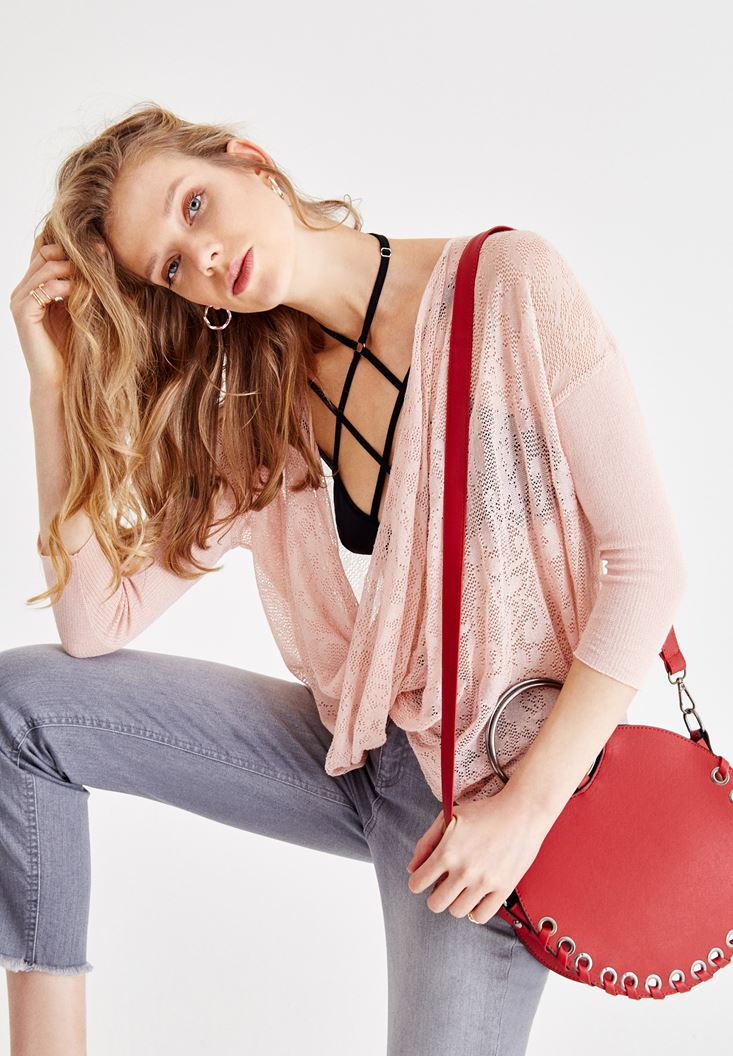 Pink Two Side Knitwear with Neck Details