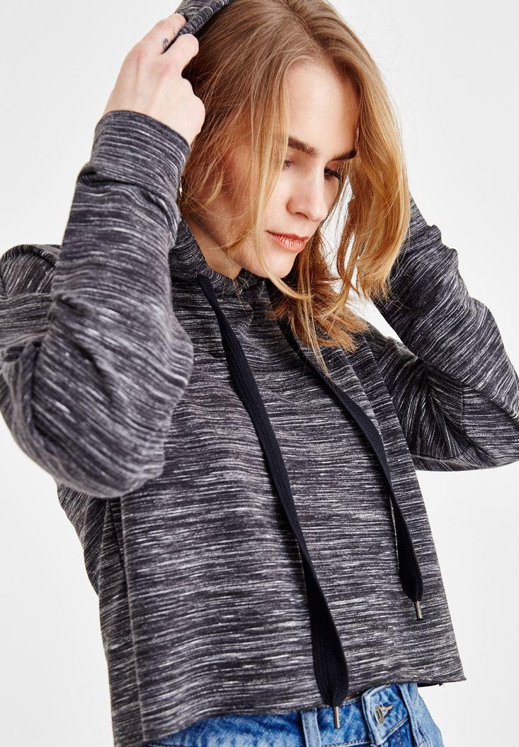 Gri Kapüşonlu Uzun Kollu Sweatshirt